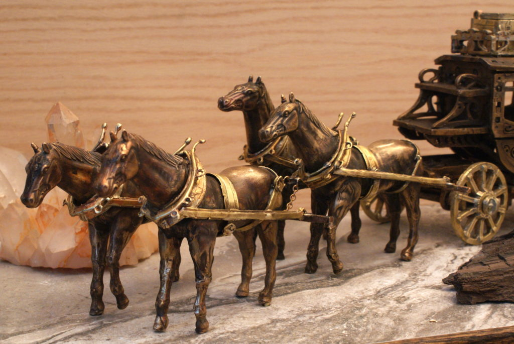 Bronze Stagecoach with 4 Horses